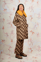Diagonal plaid coat with removable faux fur collar  image