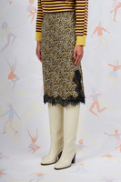 Animalier print silk skirt with lace trim  image