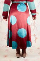 Aqua polka dot printed velvet skirt  image