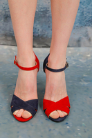 Navy and red unpaired sandals  image