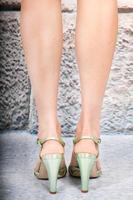 Green metallic sandals image