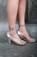 Silver Spaghetti string sandals  image