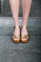 Gold Mid-heel Clog Sandals  image