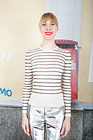Ivory Top With Sheer Black Stripes image
