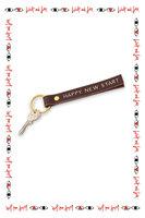 Happy New Start Leather Keyring  image