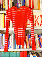 Red Top with Sheer White Stripes image