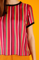 Red striped silk top  image