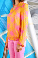 Diagonal grid print blouse image