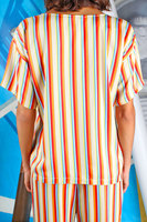 Short sleeve multicolour striped top  image
