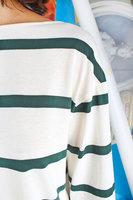Bottle green striped t-shirt  image