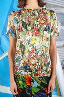 Floral print silk satin top  image