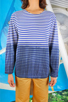 Blue and white striped degrade long sleeve t-shirt  image