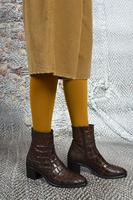 Chocolate crocodile print ankle boots  image