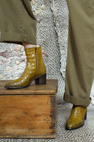 Mustard crocodile print ankle boots  image