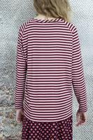 Burgundy striped long sleeve top  image