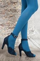 Petrol Rhinestone Embellished High Heel Sandals  image