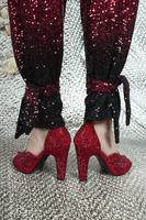 Red Rhinestone Embellished High Heel Sandals  image