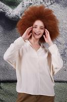 Beige open neckline silk blouse image
