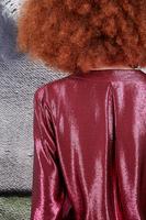 Dark pink metallic v neck blouse  image