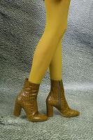 Olive Crocodile print ankle boots  image