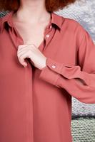 Dark dusty rose long sleeved shirt  image