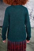 Bottle green melange ribbed sweater  image