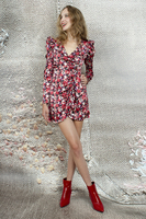 Floral Patterned Wrap Mini Dress  image