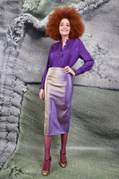 Purple metallic pencil skirt  image
