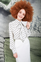 Matryoshka print pussy bow blouse  image