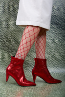 Red crackle leather ankle boots  image