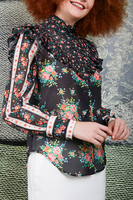 Floral print voile ruffle blouse  image
