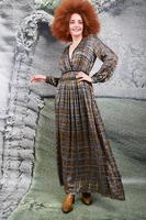 Printed dévoré check long dress  image