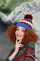 Electric blue and maroon wool pom pom hat  image