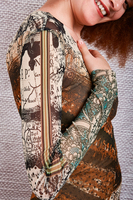 Mixed brown print trompe l'oeil fitted dress  image