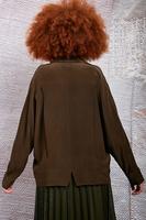 Chocolate open neckline silk blouse image