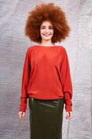 Brick silk batwing blouse  image