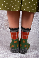Brick and green multi patterned ruffle mid height socks  image