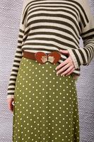 Brown check mid width elasticated belt  image