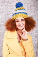 Mustard and electric blue wool pom pom hat  image