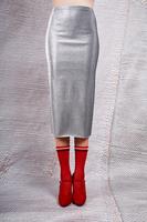 Silver metallic pencil skirt  image
