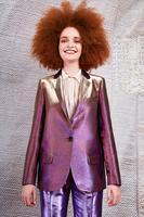 Violet and Gold metallic blazer  image