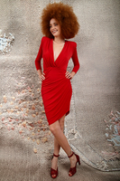 Fitted Red Dress With Plunging Neckline image