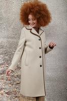 Beige  wool coat with grosgrain trim  image