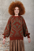 Tan and rust oversized graphic sweater image