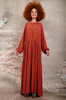 Rust polka dot voluminous dress  image