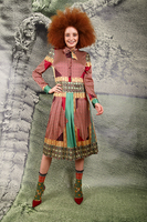 Mixed print dress with pleated skirt  image