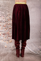 Wine finely pleated velveteen skirt  image