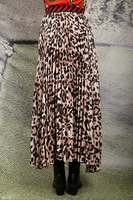 Tiger and animal print long pleated skirt image