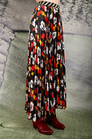 Cartoon print long pleated skirt  image