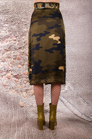 Forest and camouflage mixed print waist tie skirt  image